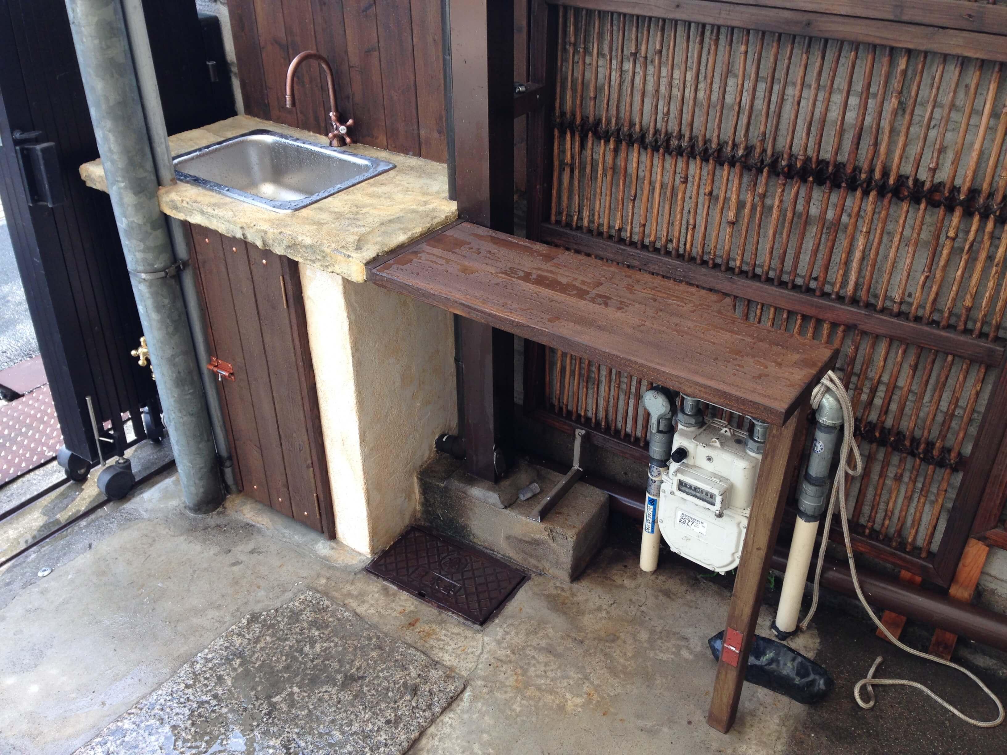 可動式作業台付きガーデンキッチン